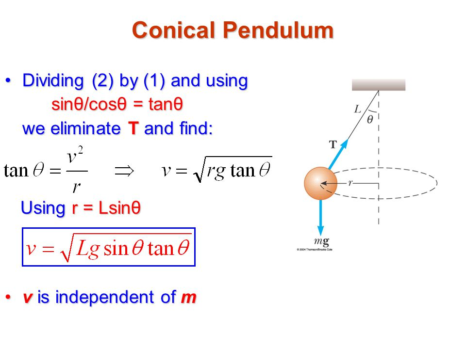Conical Pendulum Dividing (2) by (1) and using sinθ/cosθ = tanθ we eliminate T and find: