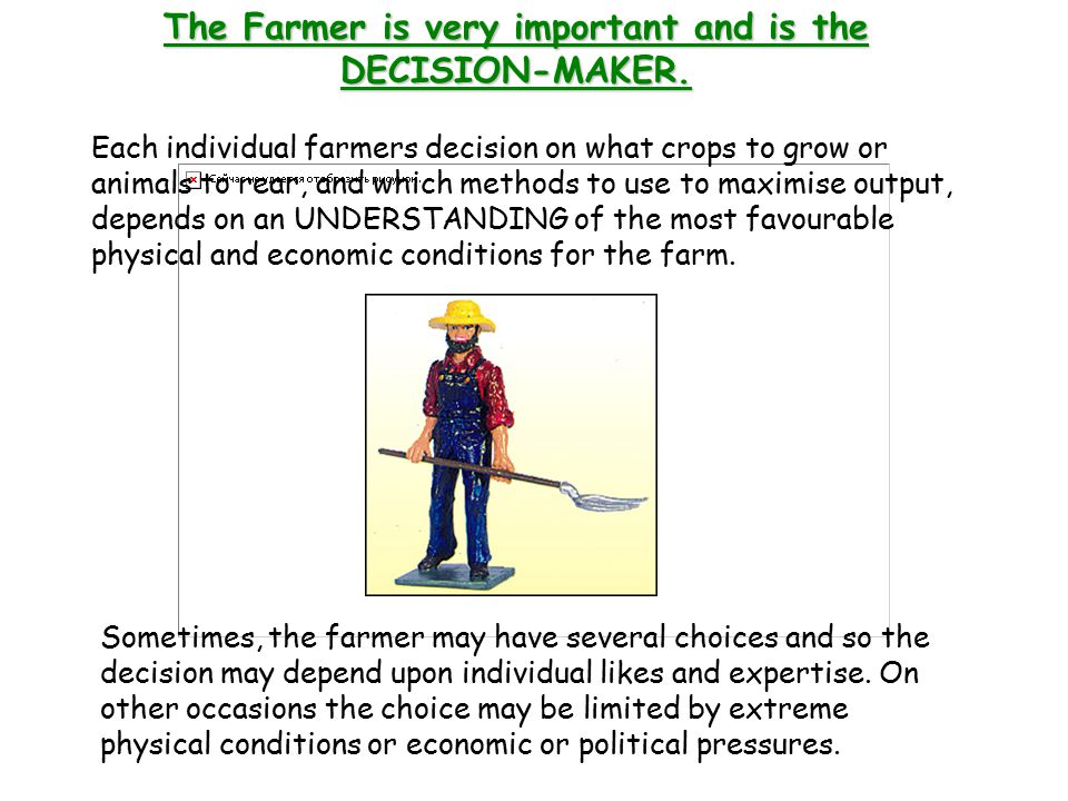 The Farmer is very important and is the DECISION-MAKER.