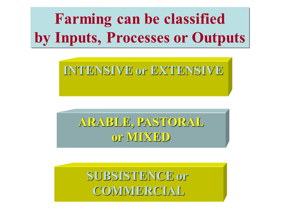 Farming can be classified by Inputs, Processes or Outputs