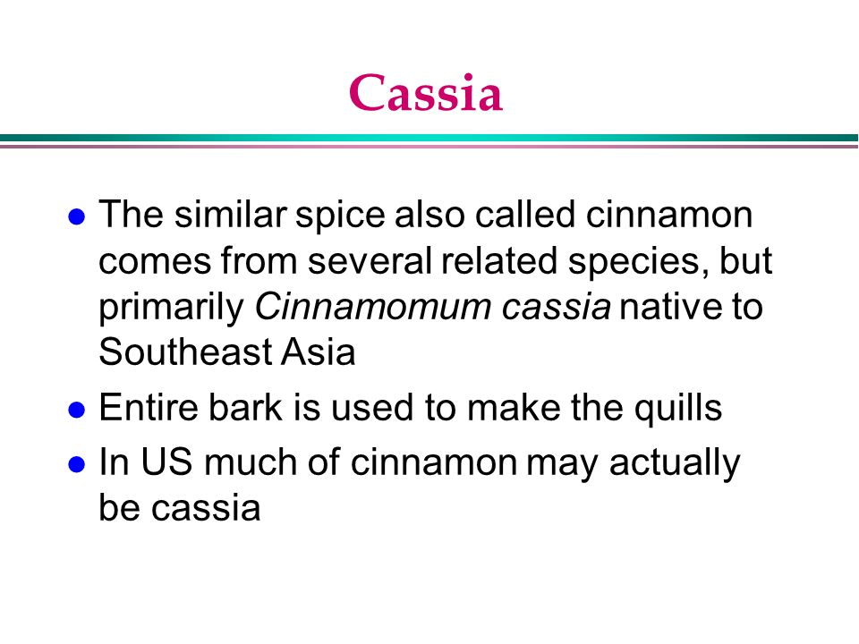 Cassia The similar spice also called cinnamon comes from several related species, but primarily Cinnamomum cassia native to Southeast Asia.