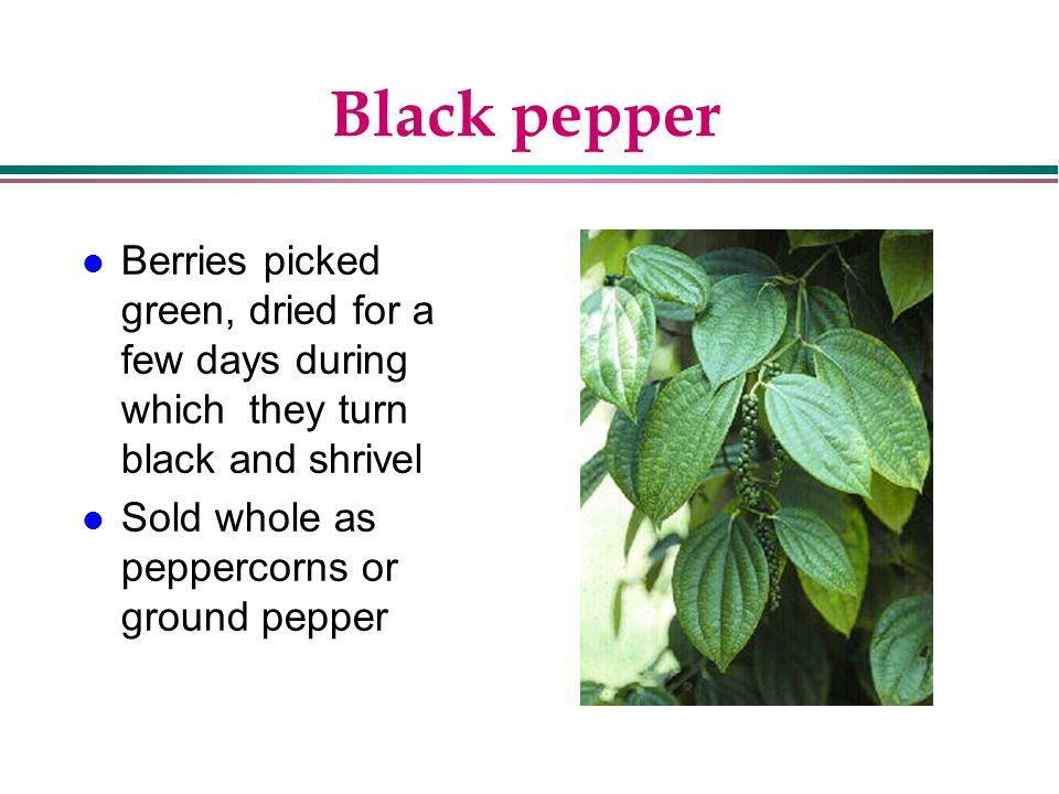 Black pepper Berries picked green, dried for a few days during which they turn black and shrivel.