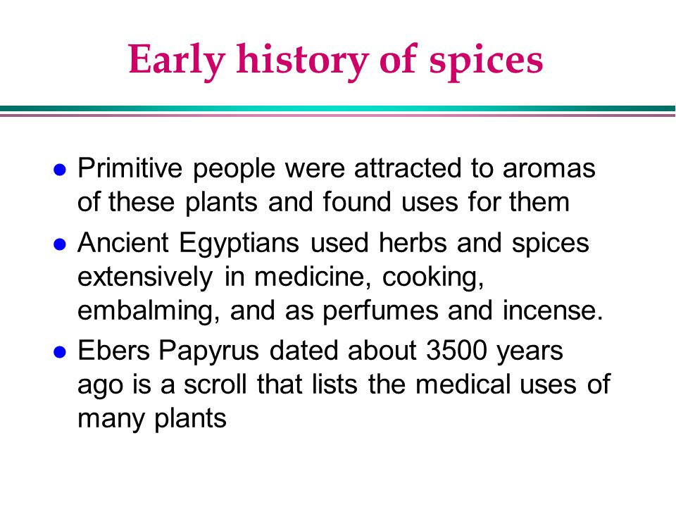 Early history of spices