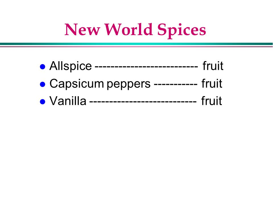 New World Spices Allspice -------------------------- fruit