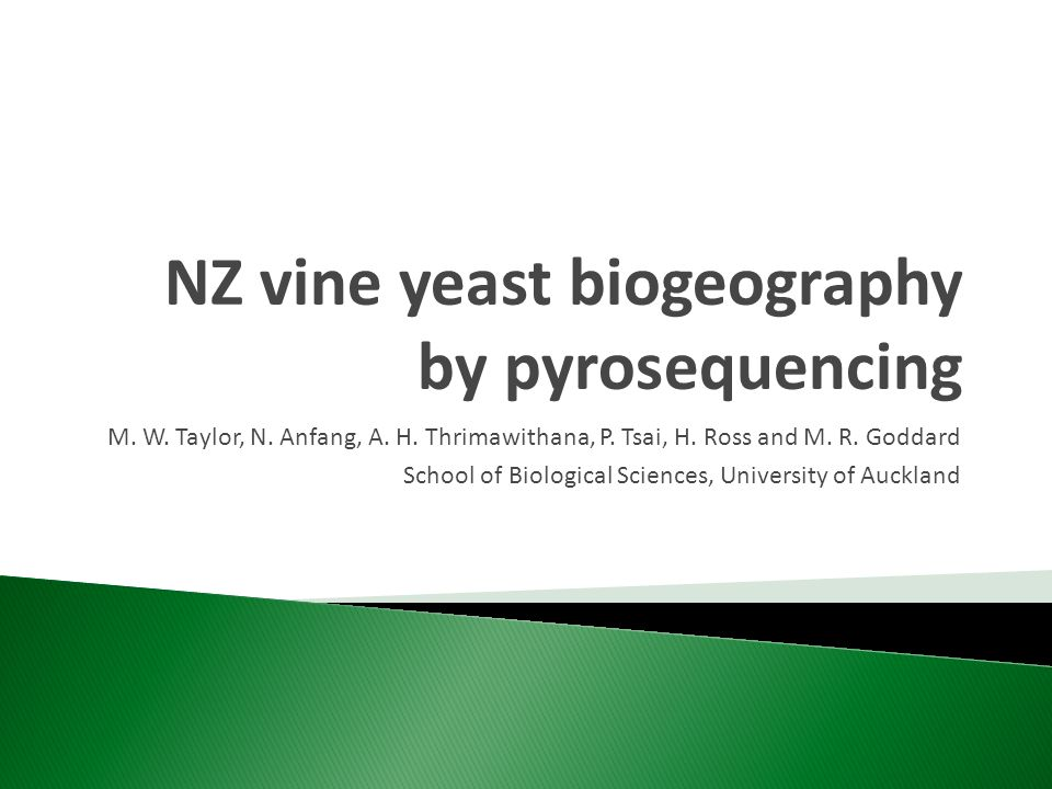 NZ vine yeast biogeography by pyrosequencing