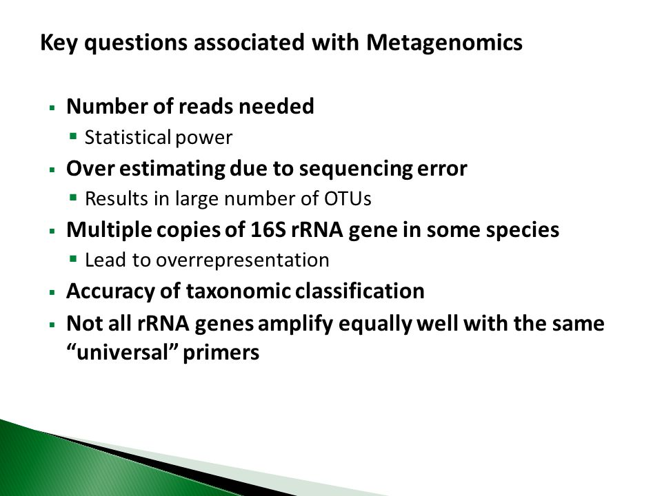 Key questions associated with Metagenomics