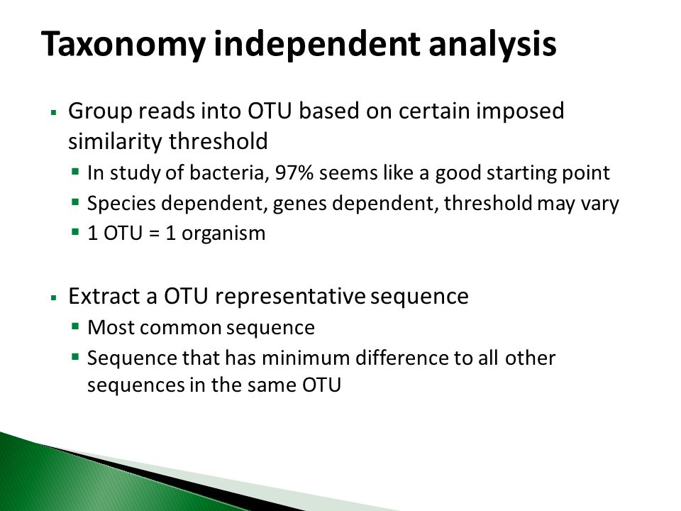 Taxonomy independent analysis