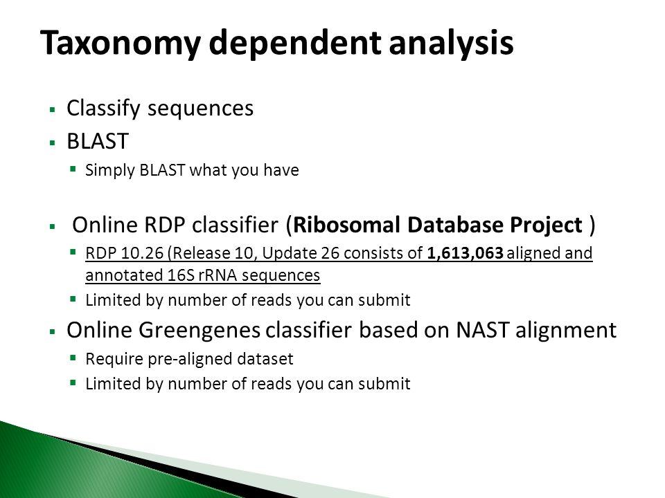 Taxonomy dependent analysis
