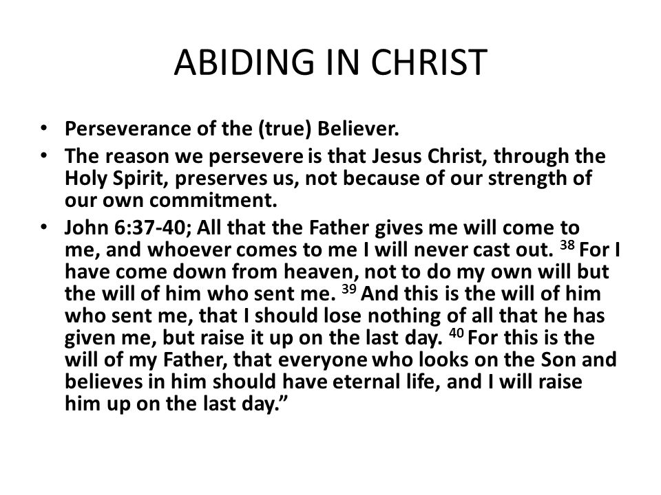 ABIDING IN CHRIST Perseverance of the (true) Believer.