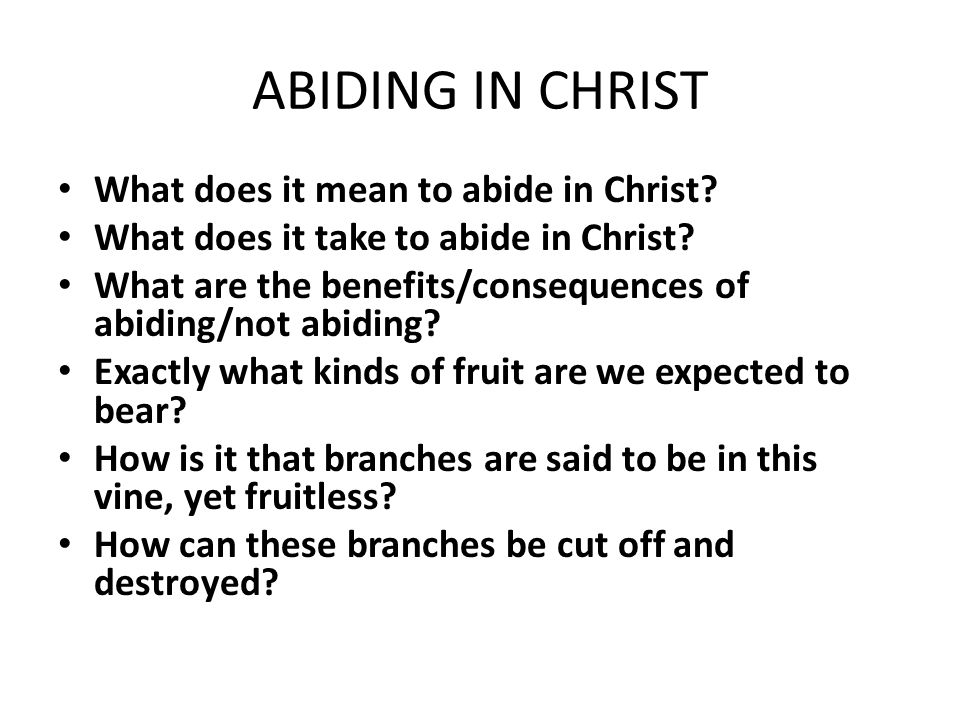 ABIDING IN CHRIST What does it mean to abide in Christ