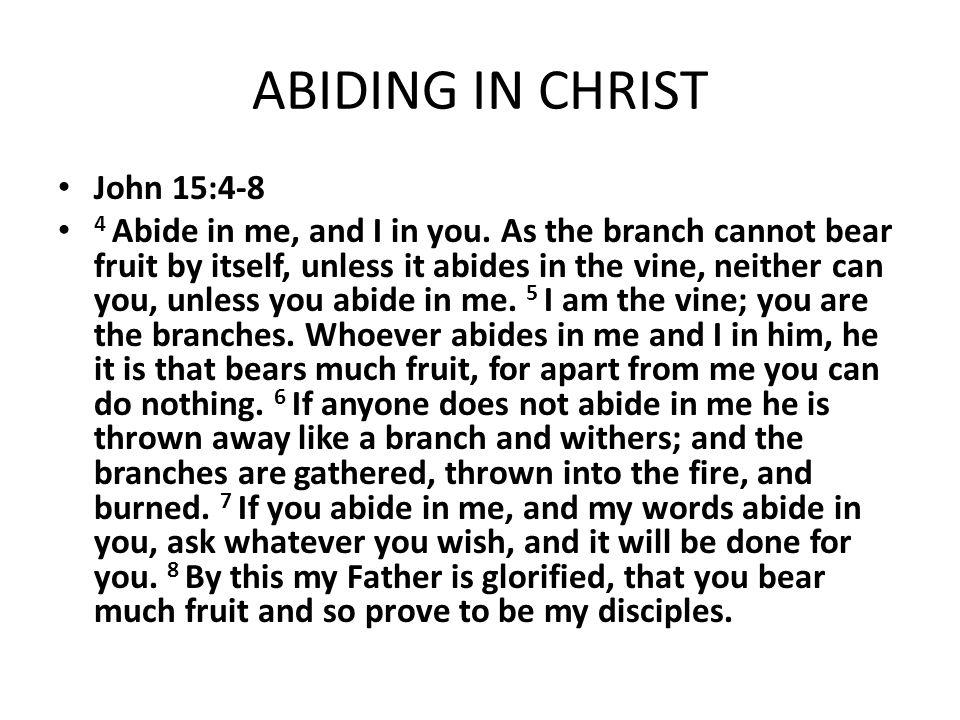 ABIDING IN CHRIST John 15:4-8