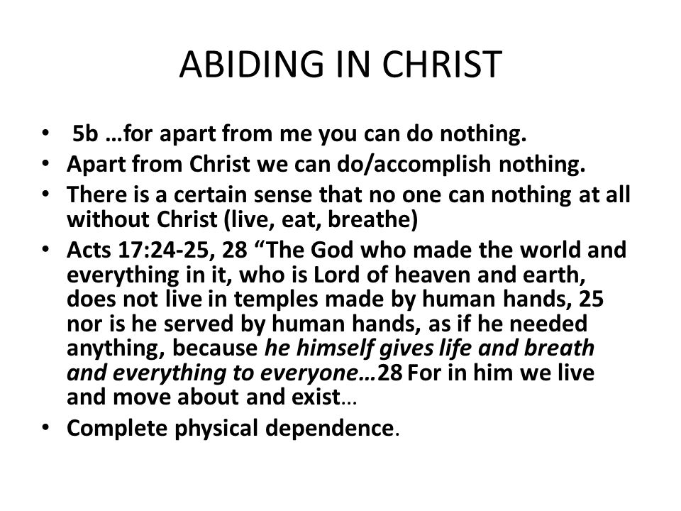 ABIDING IN CHRIST 5b …for apart from me you can do nothing.