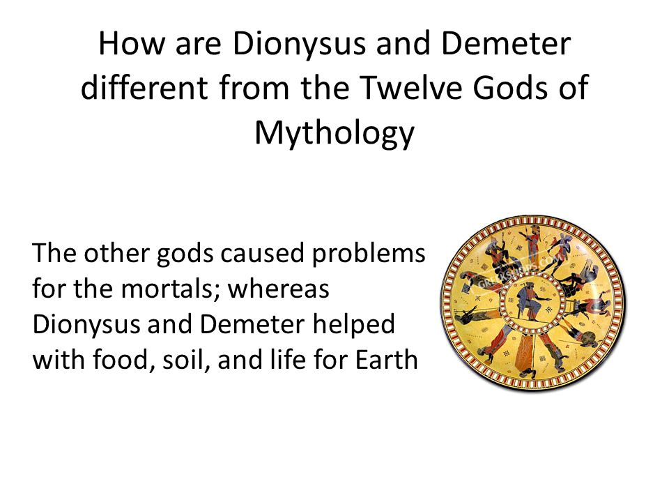 How are Dionysus and Demeter different from the Twelve Gods of Mythology