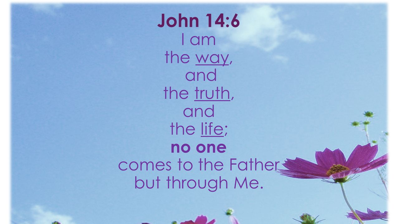 John 14:6 I am the way, and the truth, and the life; no one comes to the Father but through Me.