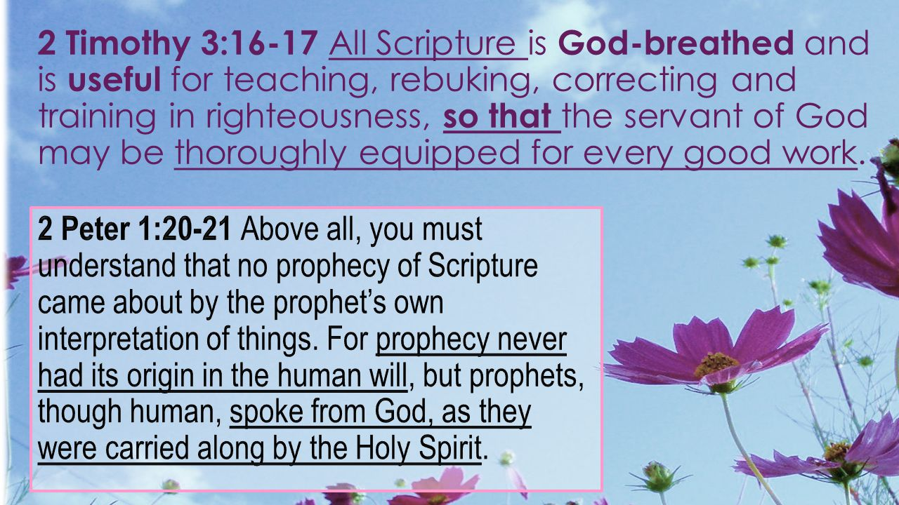 2 Timothy 3:16-17 All Scripture is God-breathed and is useful for teaching, rebuking, correcting and training in righteousness, so that the servant of God may be thoroughly equipped for every good work.