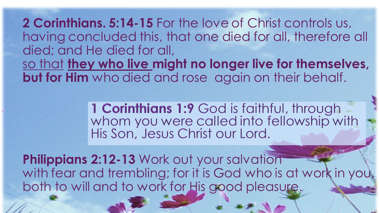 2 Corinthians. 5:14-15 For the love of Christ controls us, having concluded this, that one died for all, therefore all died; and He died for all, so that they who live might no longer live for themselves, but for Him who died and rose again on their behalf. Philippians 2:12-13 Work out your salvation with fear and trembling; for it is God who is at work in you, both to will and to work for His good pleasure.