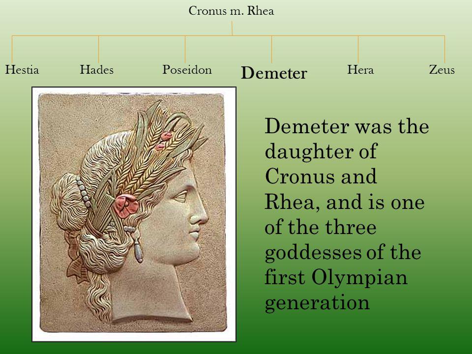 Cronus m. Rhea Hestia. Hades. Poseidon. Demeter. Hera. Zeus.