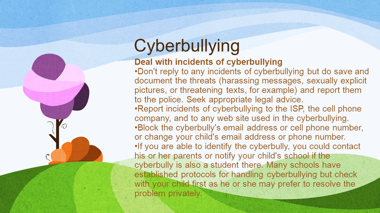 Cyberbullying Deal with incidents of cyberbullying