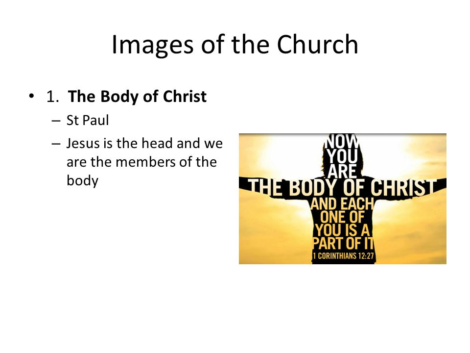 Images of the Church 1. The Body of Christ St Paul