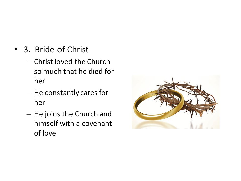 3. Bride of Christ Christ loved the Church so much that he died for her. He constantly cares for her.