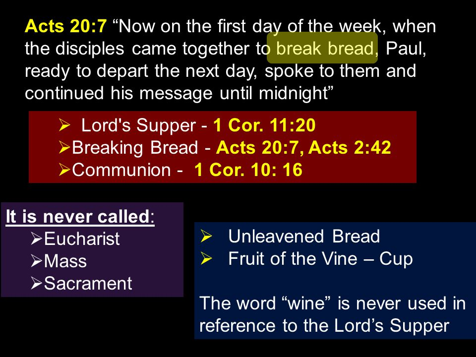 Breaking Bread - Acts 20:7, Acts 2:42 Communion - 1 Cor. 10: 16
