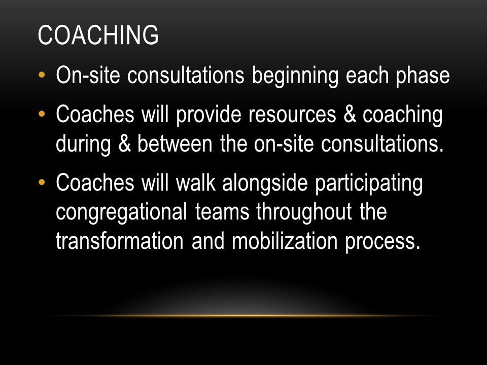 Coaching On-site consultations beginning each phase
