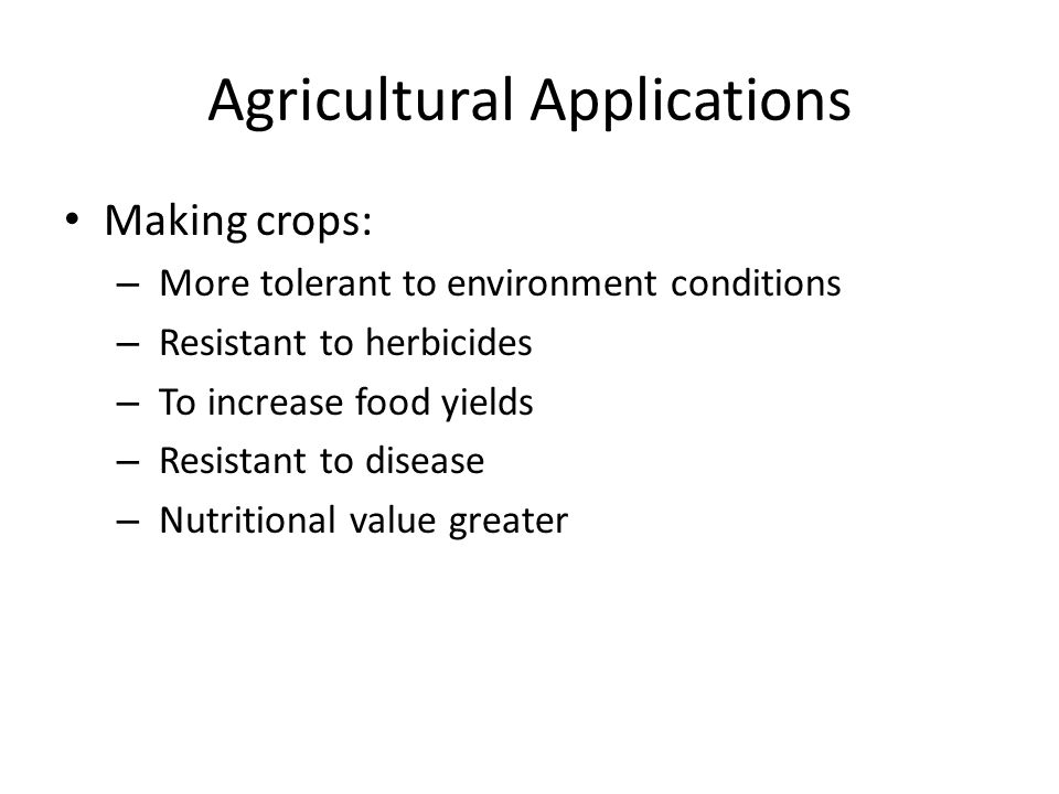 Agricultural Applications