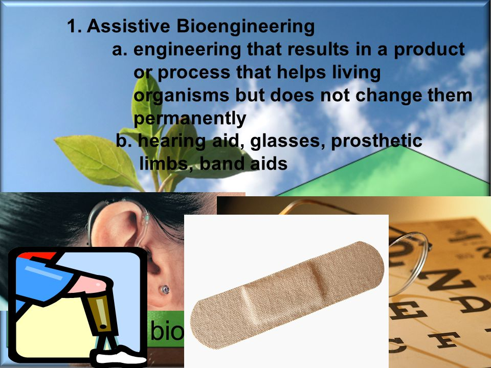 Differentiate between adaptive and assistive bioengineered products.