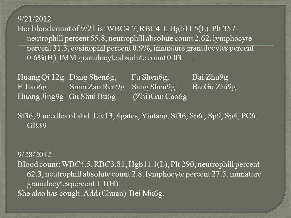 9/21/2012 Her blood count of 9/21 is: WBC4. 7, RBC4. 1, Hgb11