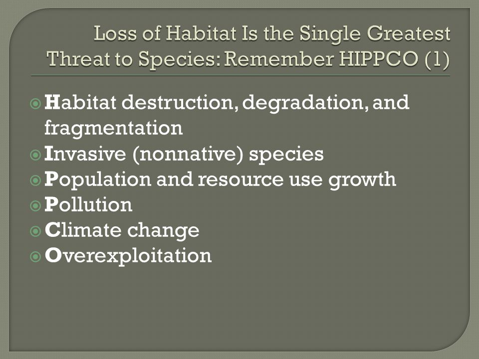 Loss of Habitat Is the Single Greatest Threat to Species: Remember HIPPCO (1)