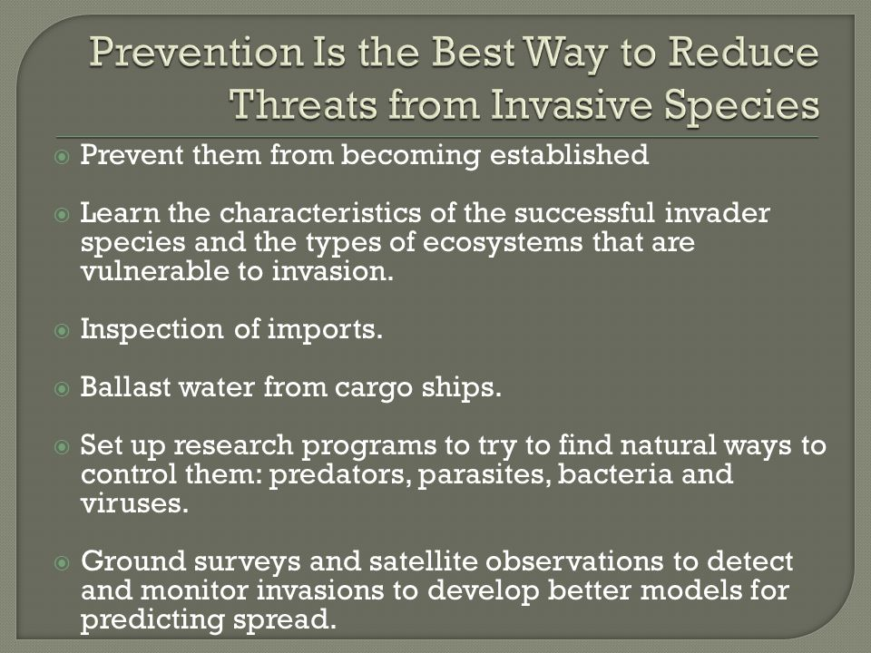 Prevention Is the Best Way to Reduce Threats from Invasive Species