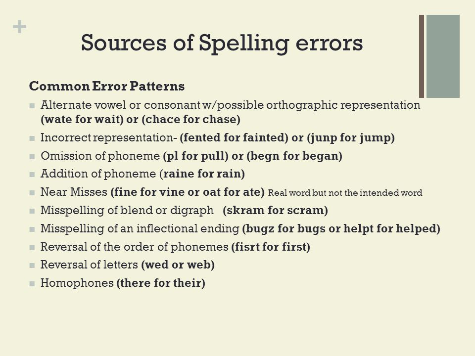 Sources of Spelling errors