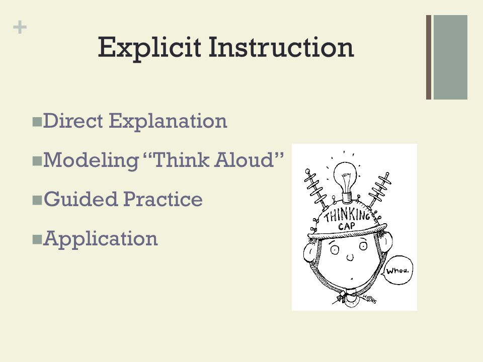 Explicit Instruction Direct Explanation Modeling Think Aloud