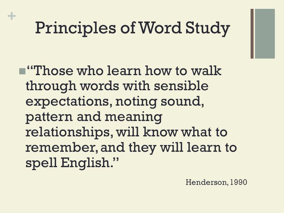Principles of Word Study
