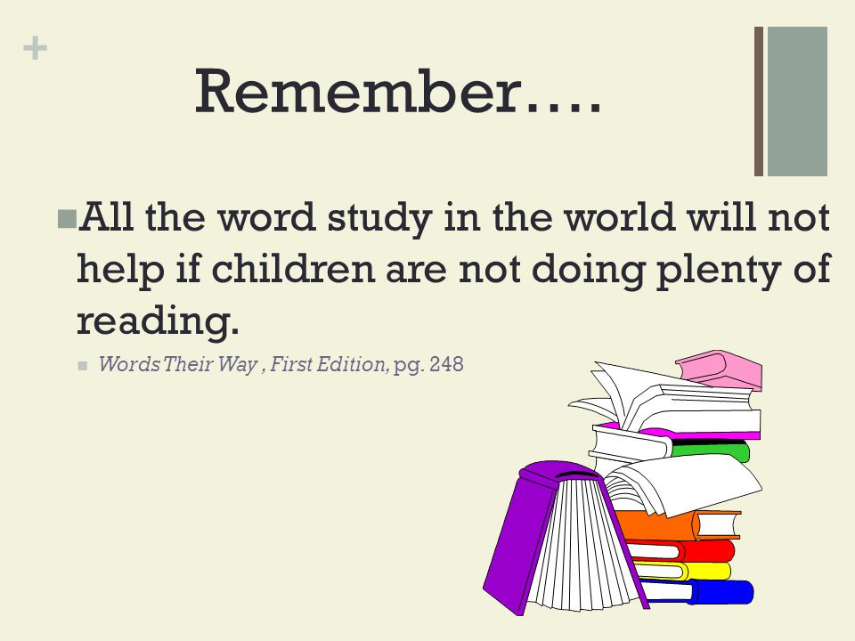 Remember…. All the word study in the world will not help if children are not doing plenty of reading.