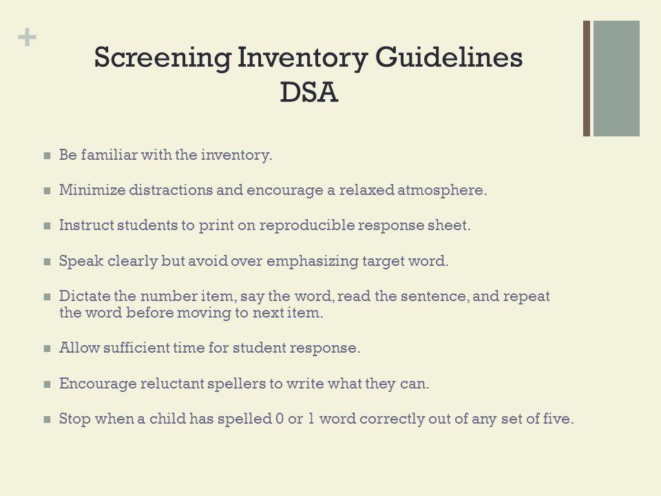 Screening Inventory Guidelines DSA