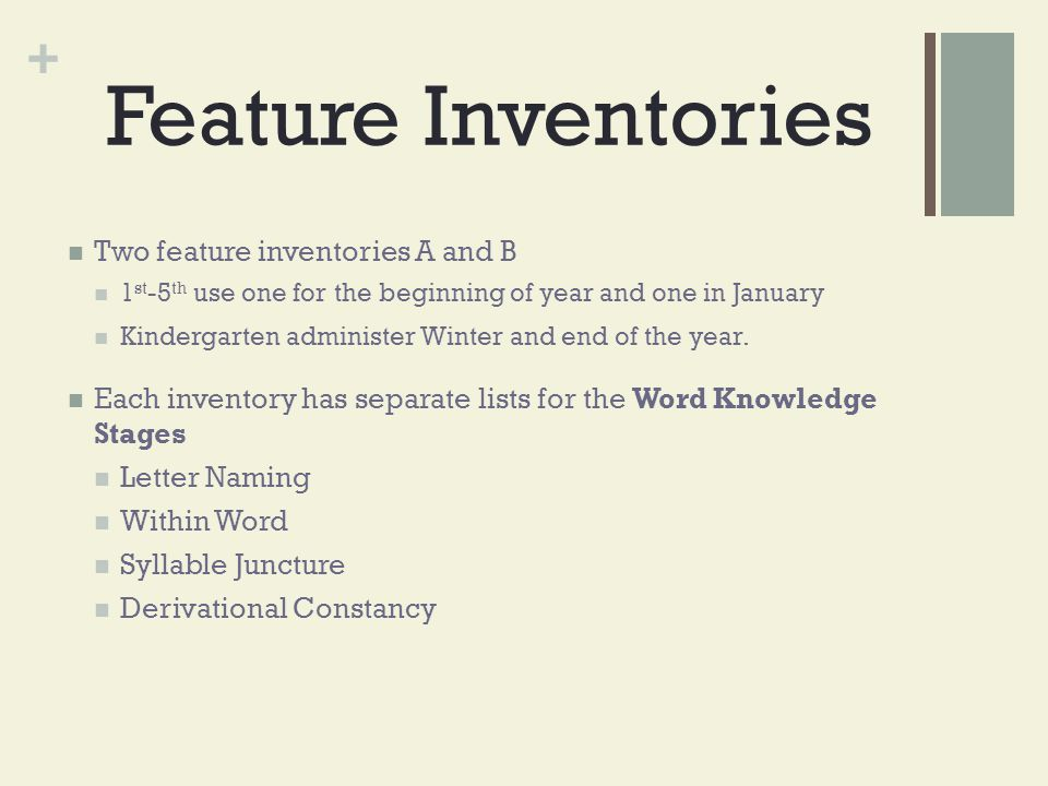 Feature Inventories Two feature inventories A and B