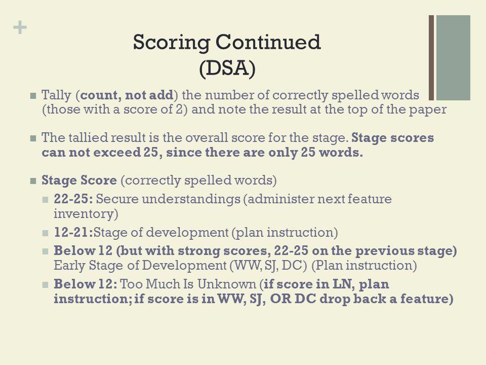Scoring Continued (DSA)