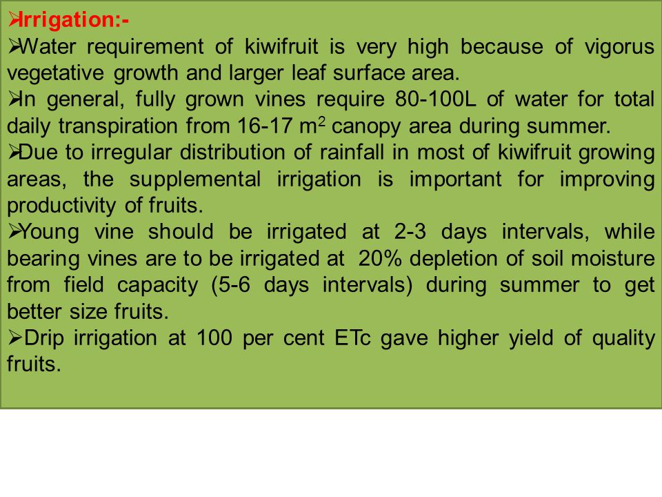 Irrigation:- Water requirement of kiwifruit is very high because of vigorus vegetative growth and larger leaf surface area.