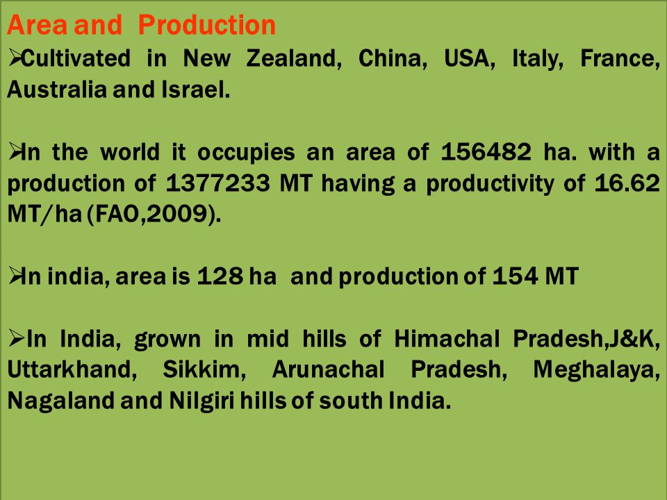 Area and Production Cultivated in New Zealand, China, USA, Italy, France, Australia and Israel.