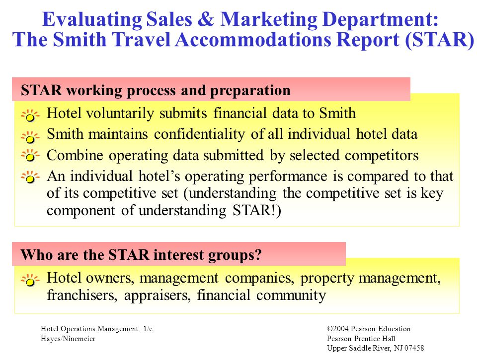 Evaluating Sales & Marketing Department: The Smith Travel Accommodations Report (STAR)