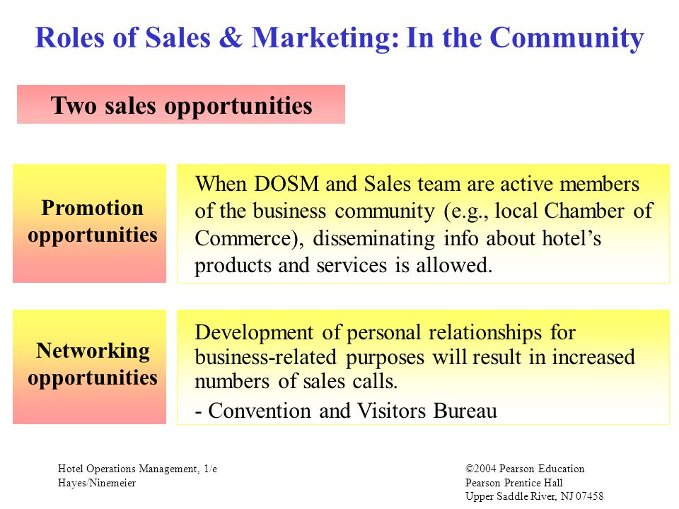 Roles of Sales & Marketing: In the Community Two sales opportunities