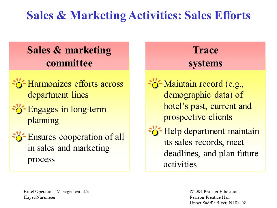 Sales & Marketing Activities: Sales Efforts