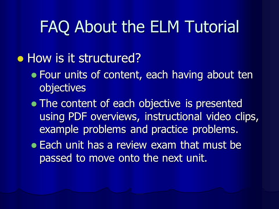FAQ About the ELM Tutorial