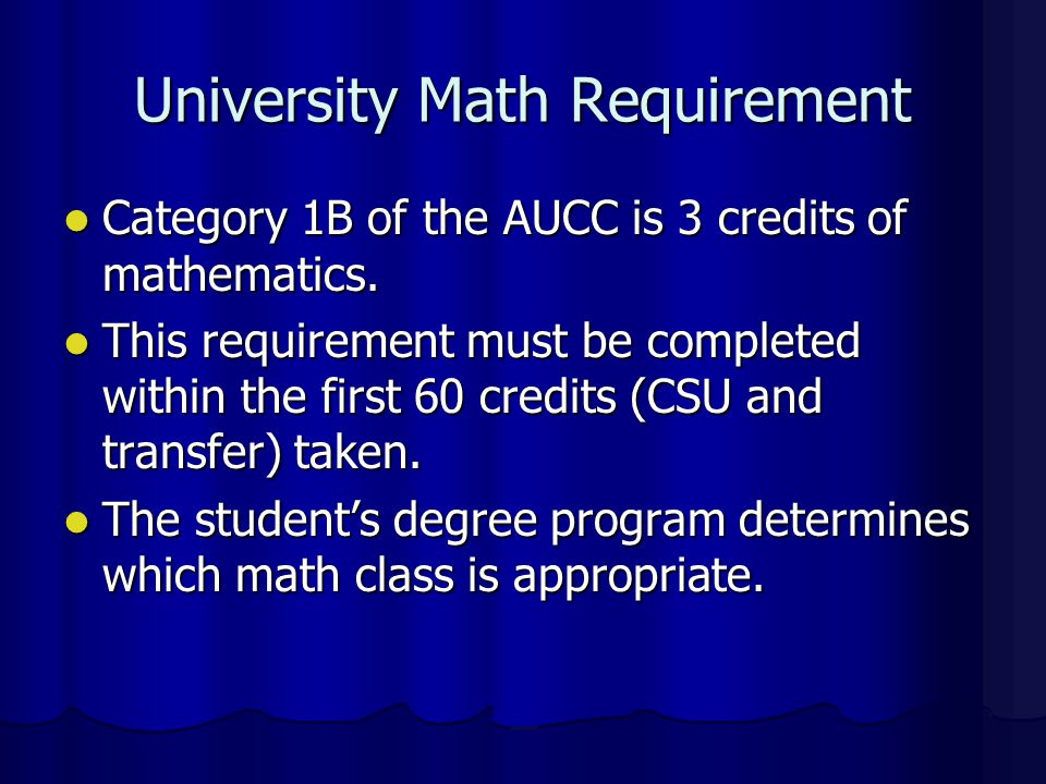 University Math Requirement
