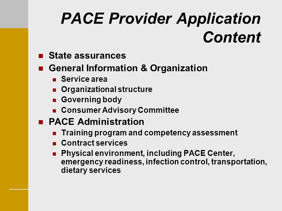 PACE Provider Application Content