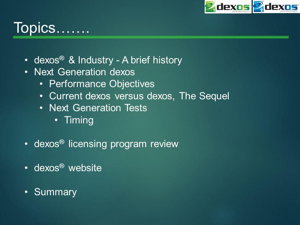 Topics……. dexos® & Industry - A brief history Next Generation dexos