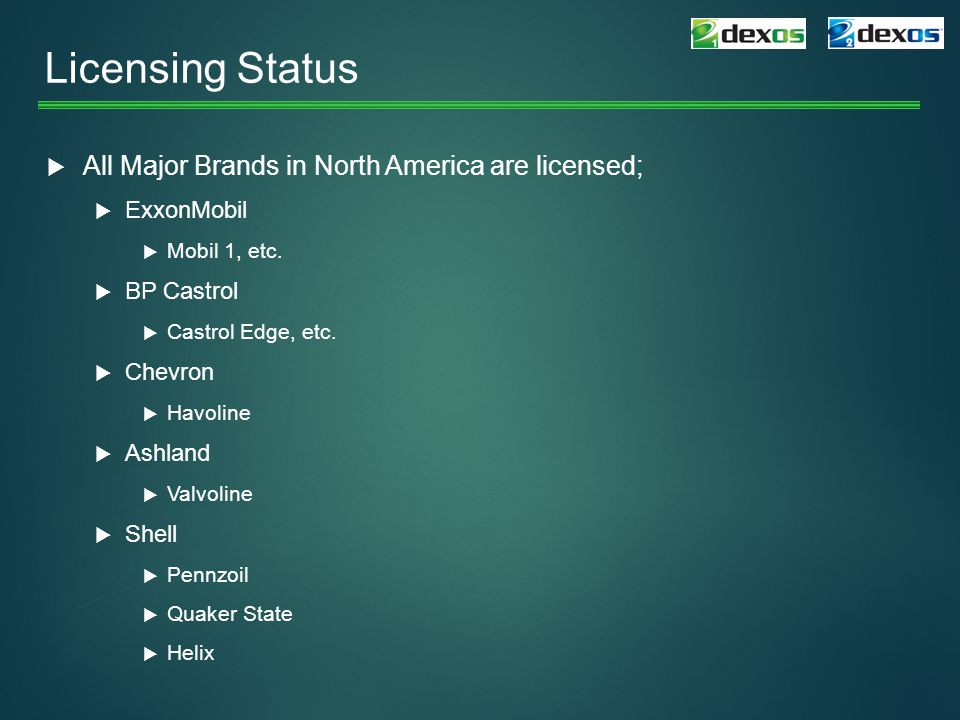 Licensing Status All Major Brands in North America are licensed;
