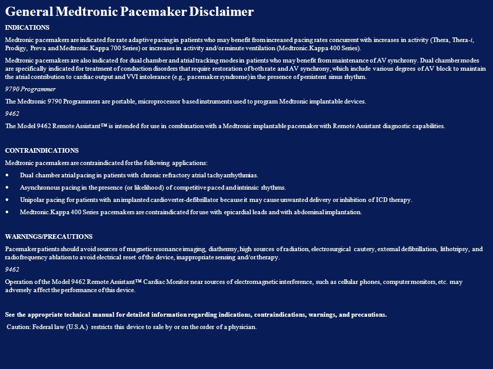 General Medtronic Pacemaker Disclaimer