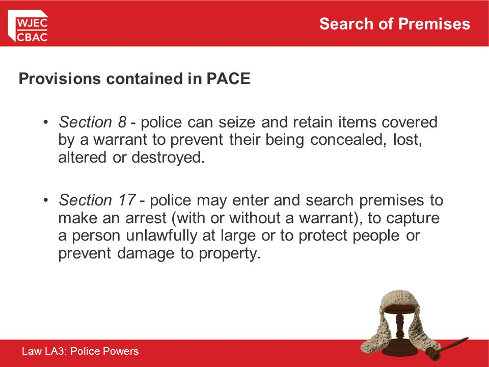 Provisions contained in PACE