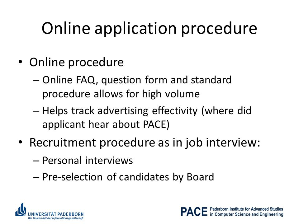Online application procedure